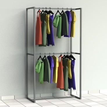 Μεταλλικό Stand με Διπλή Κρέμαση Ρούχων