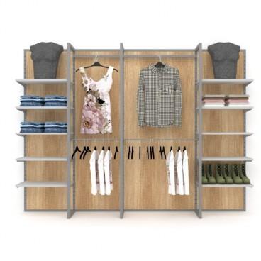 Σύνθεση Τοίχου με Ράφια και Μπάρες Κρέμασης Ρούχων
