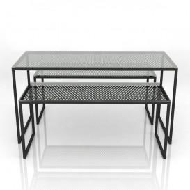 Τραπέζια με Μεταλλικό Πλέγμα και Γυάλινη Επιφάνεια