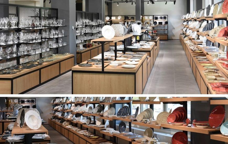 κεντρικες ραφιερες και κατασκευες για προβολη προιοντων σε showroom