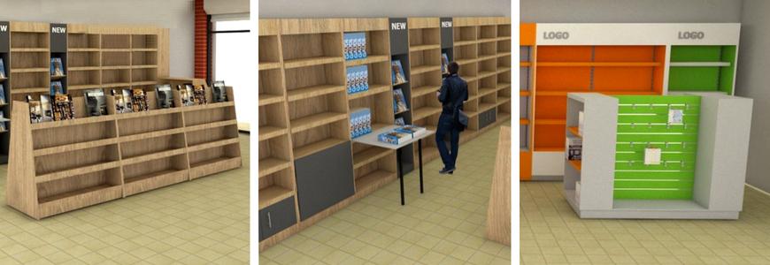 κατασκευη επιπλωσης βιβλιοπωλειου απο την shopkit