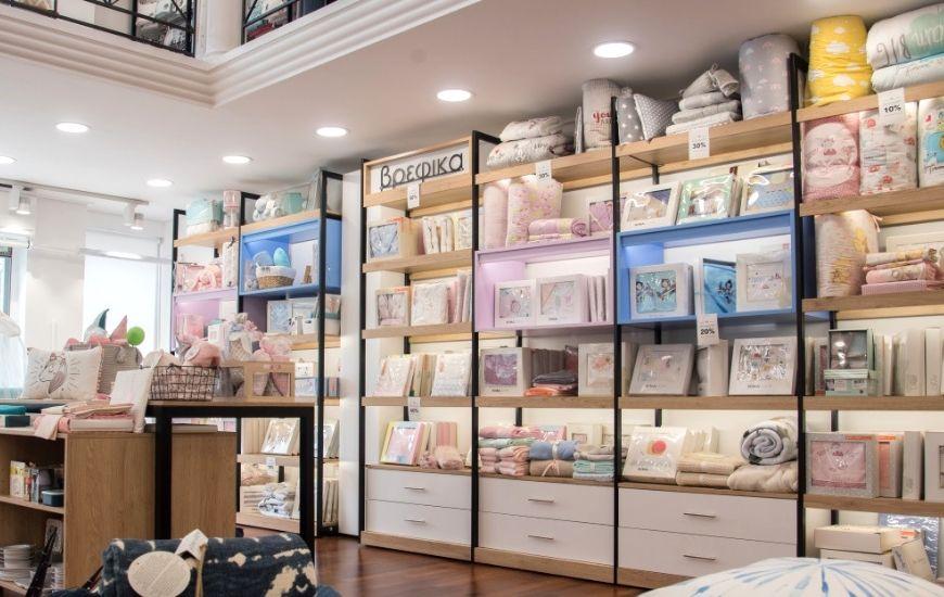ραφια τοιχου και επιπλα για μαγαζι με ειδη μπανιου